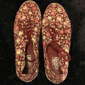 Maroon floral vans